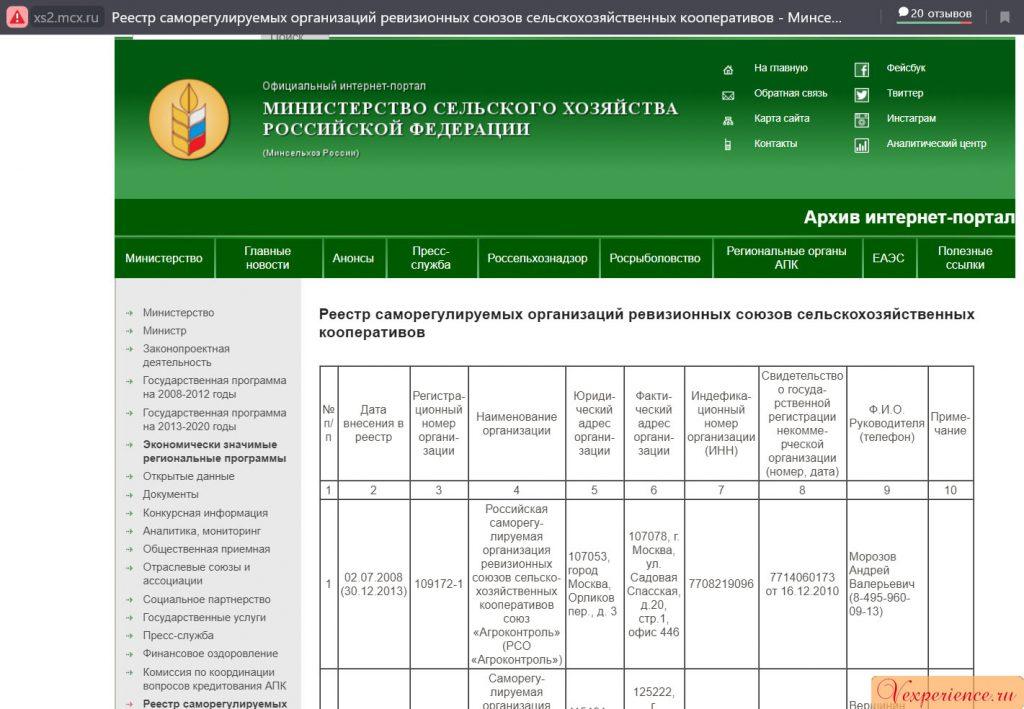 Реестр СРО сельхоз кооперативов